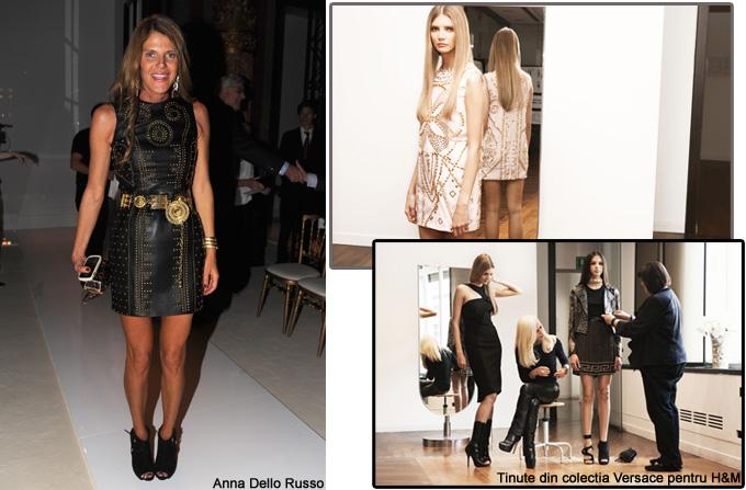 Anna Dello Russo intr-o rochie Versace for H&M la Paris Fashion Week