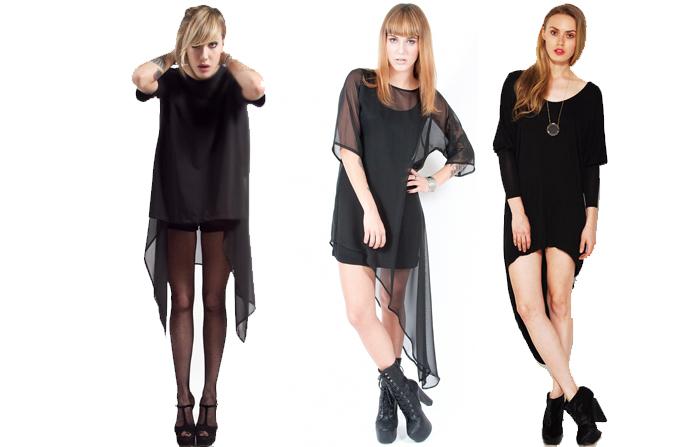 HOT: rochii negre asimetrice