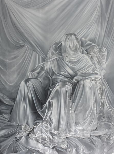 iron curtai(2), 2015, 390_286cm,oil_acrylic_monoprint_linen